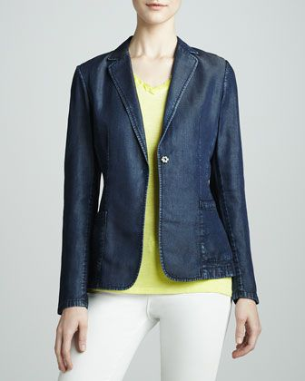 Abby Denim One-Snap Jacket by Elie Tahari at Neiman Marcus.