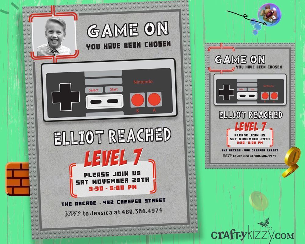Nintendo Boy Birthday Invitation Video Game Party Invitations Gaming ...