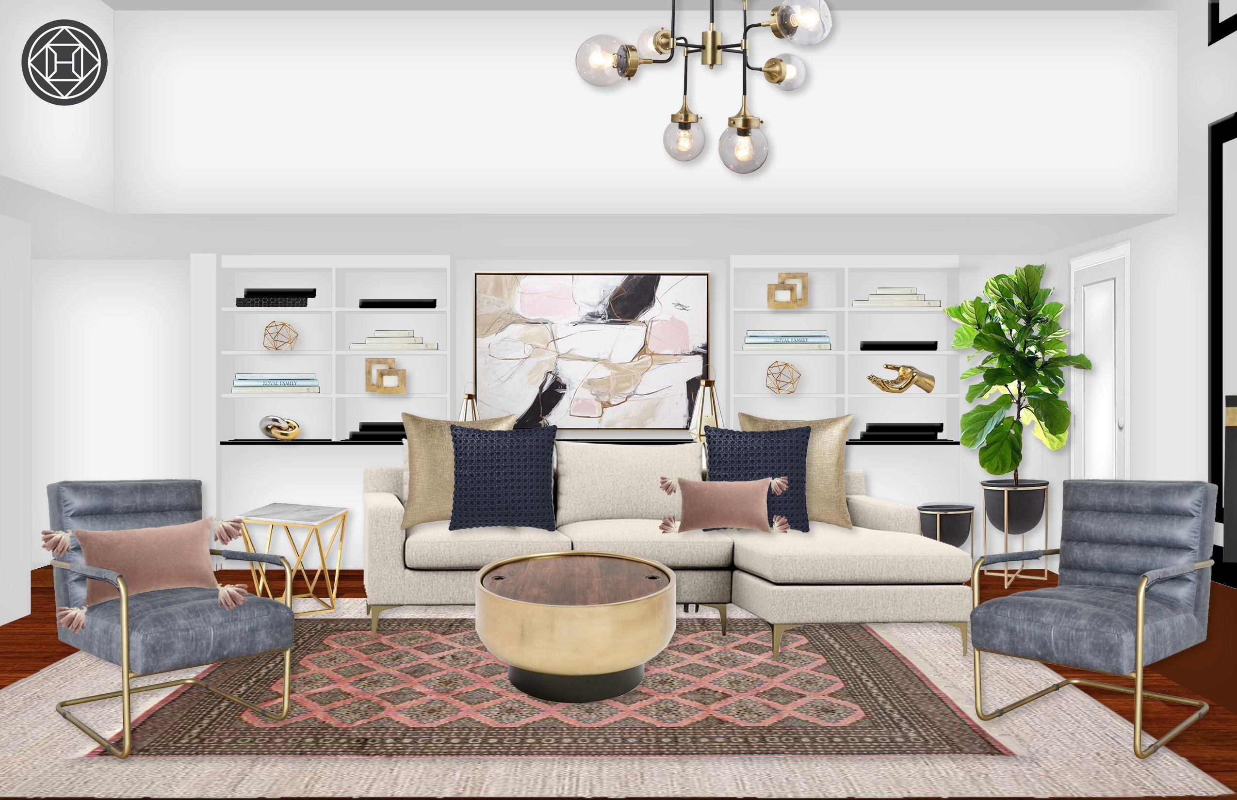 Midcentury Modern Living Room Design By Havenly Interior Designer