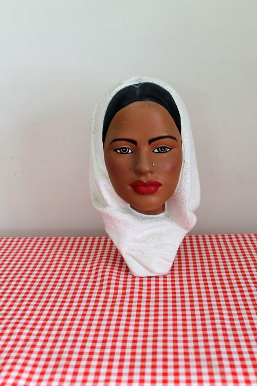 vintage 1960s head vase - WHITE SCARF ceramic indian lady figurine by LittleMsTips on Etsy