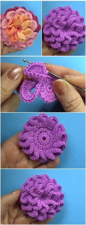 Crochet Beautiful 3d Flower Free Pattern Video Pinterest Free