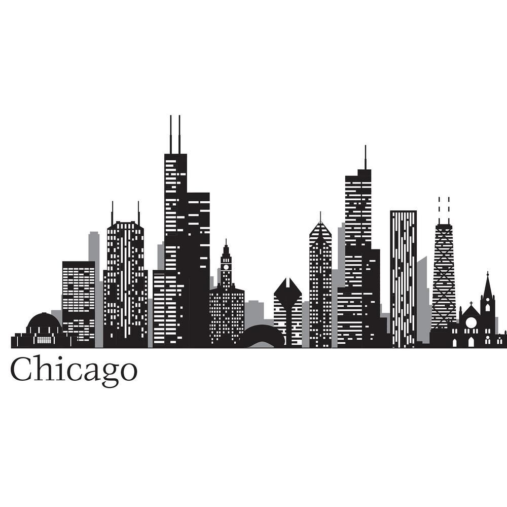 Wall Pops Black Chicago Cityscape Wall Decal Wpk2519 Chicago