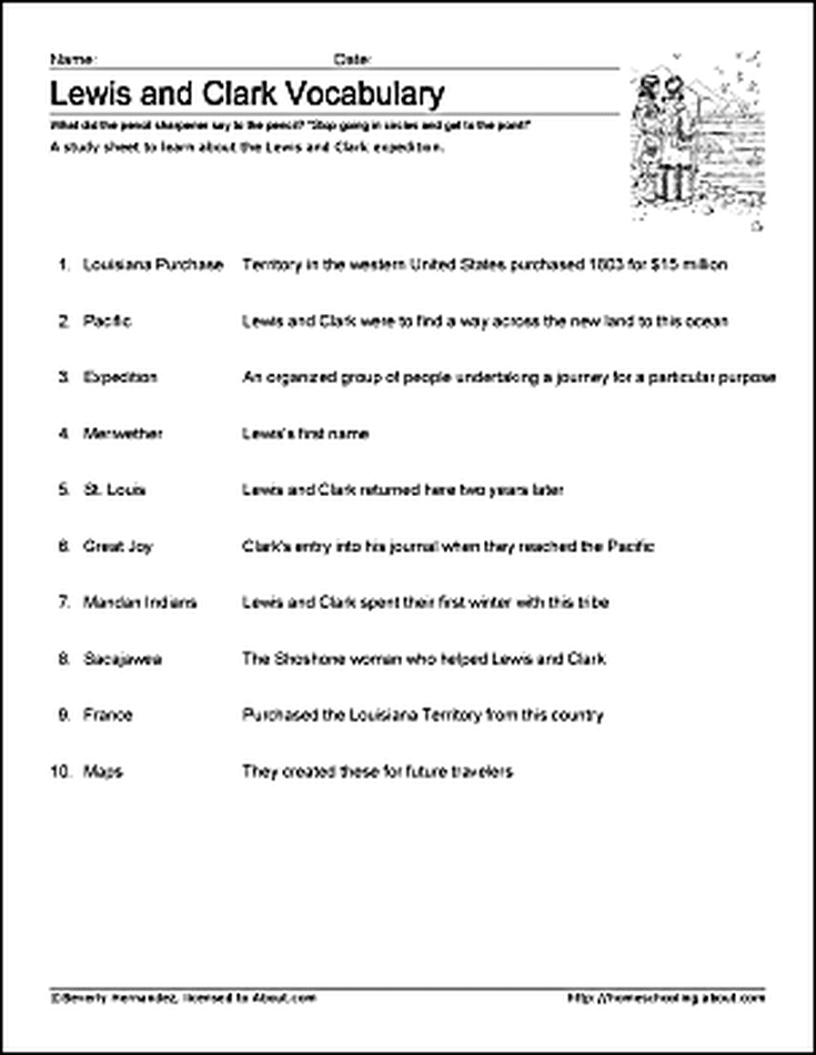 Free Lewis And Clark Printable Worksheets And Coloring Pages Louis