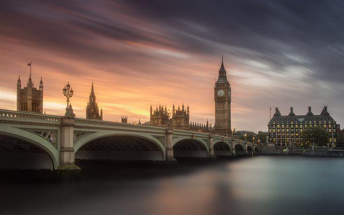 Big Ben, London, England, Palace of Westminster, Sunset, Thames, United Kingdom