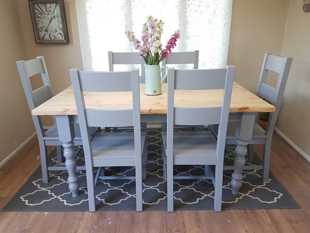 Beautiful Grey Pine Dining Table And Chairs Really Heavy And Well