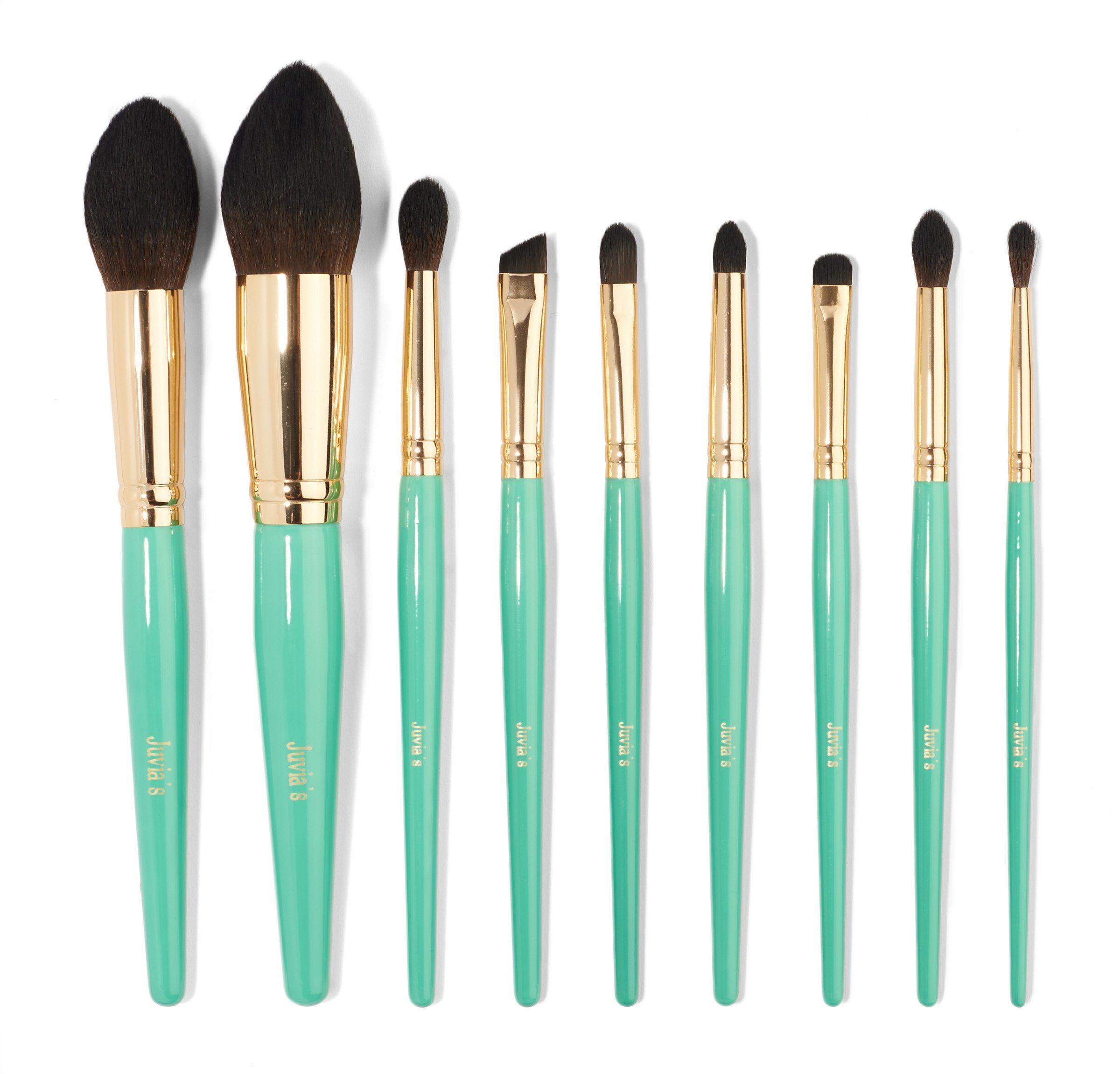 9pcs turquoise blue brush set Makeup brushes, Brush set
