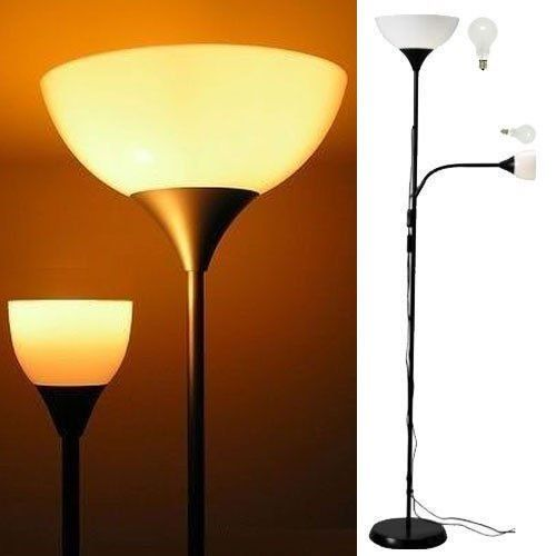 Modern floor lamp with adjustable reading light black frame white modern floor lamp with adjustable reading light black frame white shades 2 bulbs included aloadofball Image collections