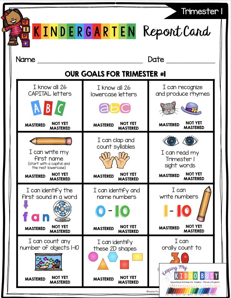 Kindergarten Report Card and Assessment Kit - FREEBIE — Keeping My Kiddo Busy