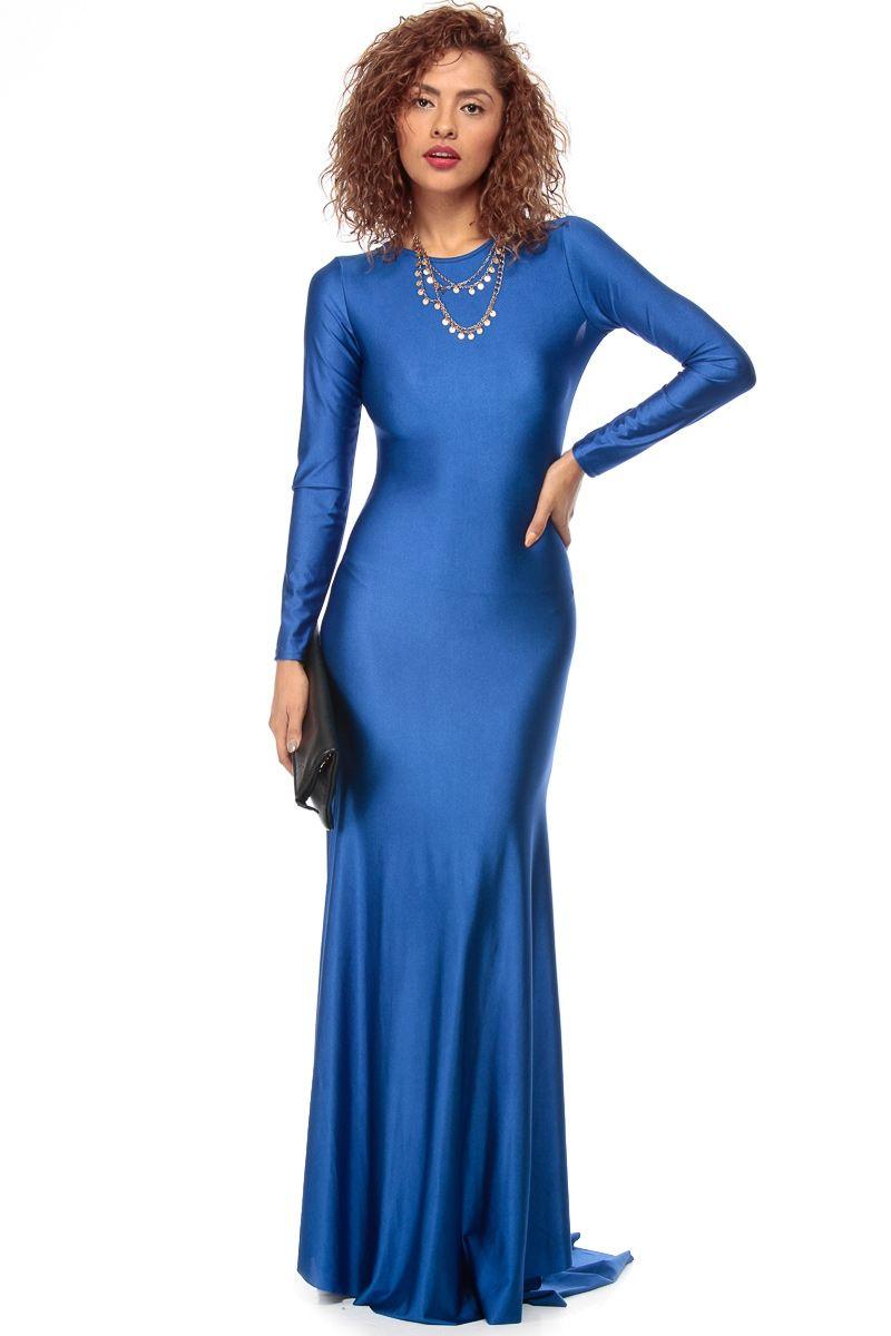 Royal blue luxe tail mermaid maxi dress blue dresses pinterest