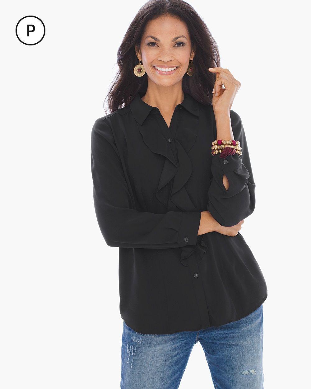 Chico's Women's Petite Ruffle-Front Shirt, Black, Size: 3P (16P/18P XL)