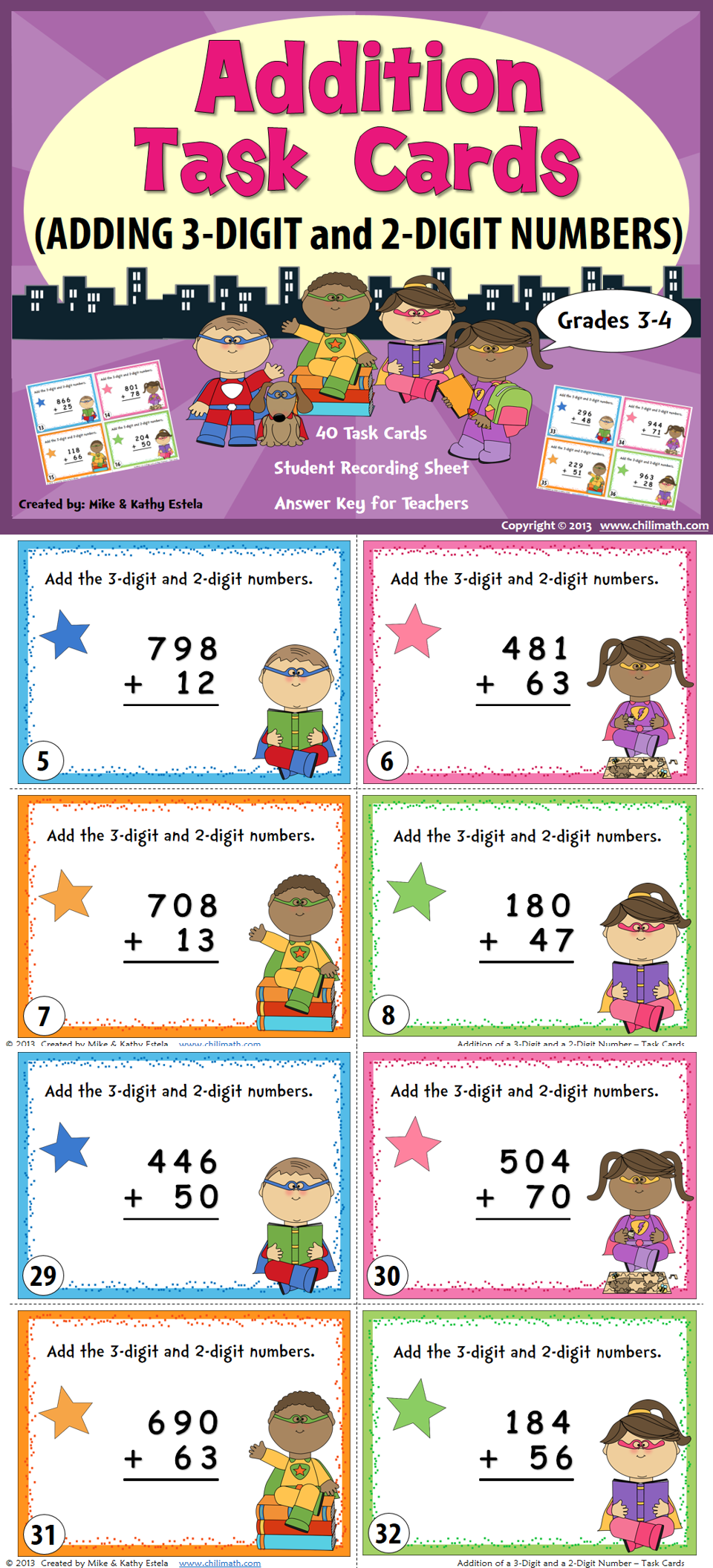 Addition Task Cards Math, Elementary math and School