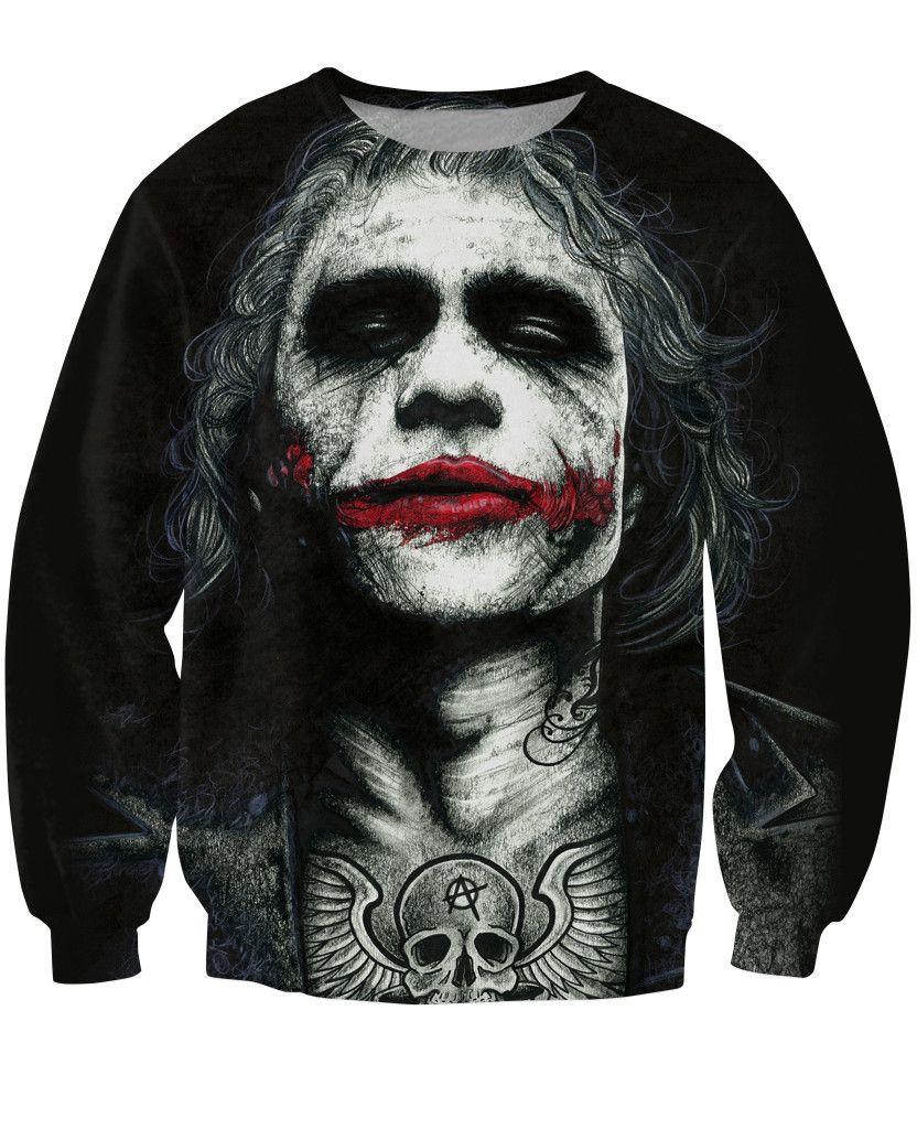 f15f4e3d2 Entintado Joker camiseta badass tatuada Joker Dark Knight 3d sudores mujer  hombre hombre Batman DC Comics Superhero Jumper trajes Tops