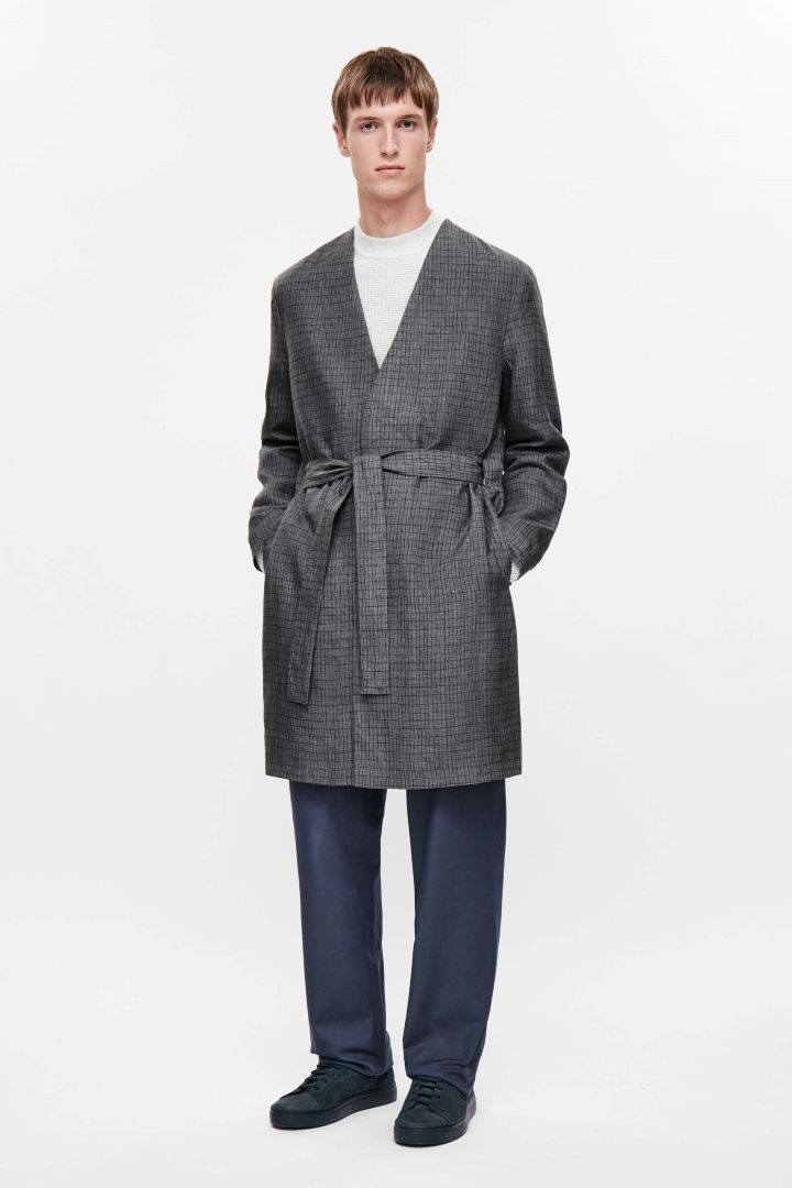 COS image 1 of Patterned linen coat in Grey