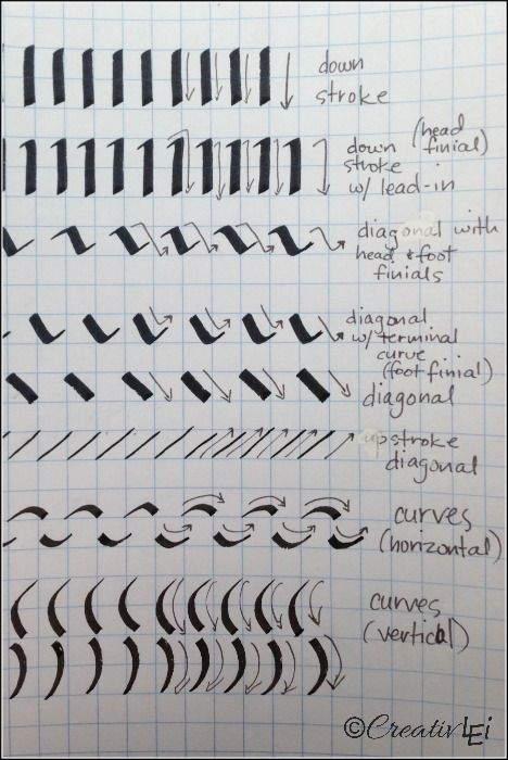 Using A Calligraphy Marker As Slanted Pen Here Are The Basic Strokes To Practice CreativLEI