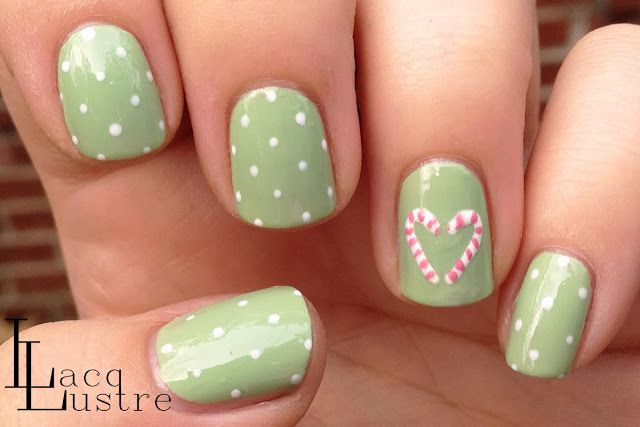 Mint Green Candy Cane Heart Nail Art Christmas Nail Art Designs Christmas Nails Diy Nails
