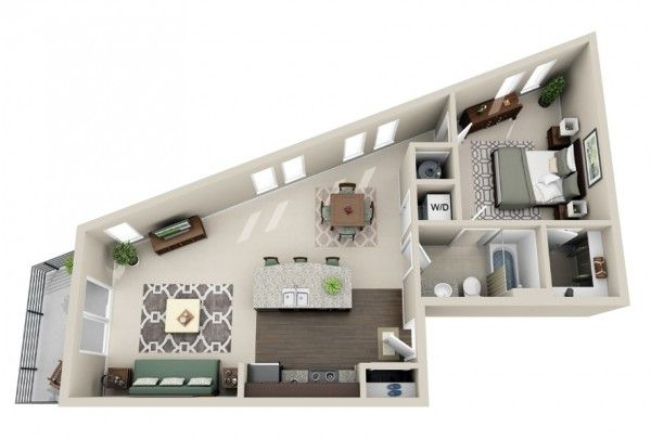 50 plans en 3d d appartement avec 1 chambres apartments for Plan appartement 3d