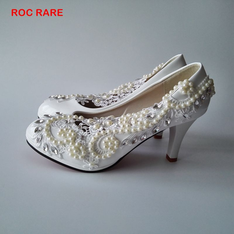 4e8349a161fed New Fashion White Lace Pearls Women Wedding Shoes Pure Handmade Bridal  Pegant Party Shoes Lace Wedding Shoes Heel
