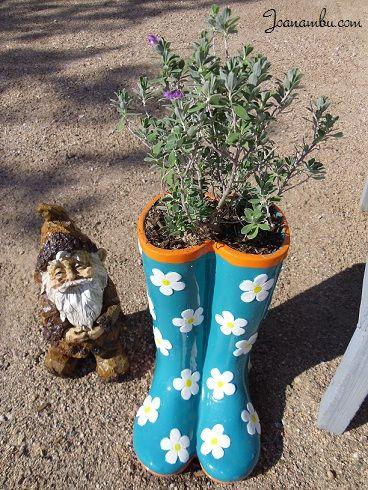 Ceramic Rain Boots Garden Planter Gardening Pinterest