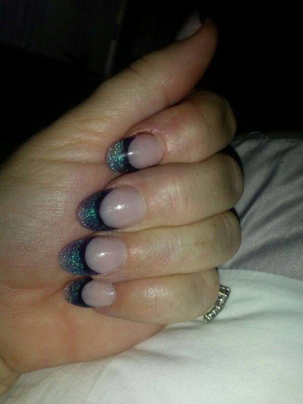 Purple glitter french nails | Nails | Pinterest | Glitter french ...