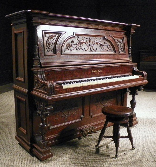 Well Loved And Used. Precise Upright Victorian Piano With Fluting And Inlaid Decoration Benches/stools