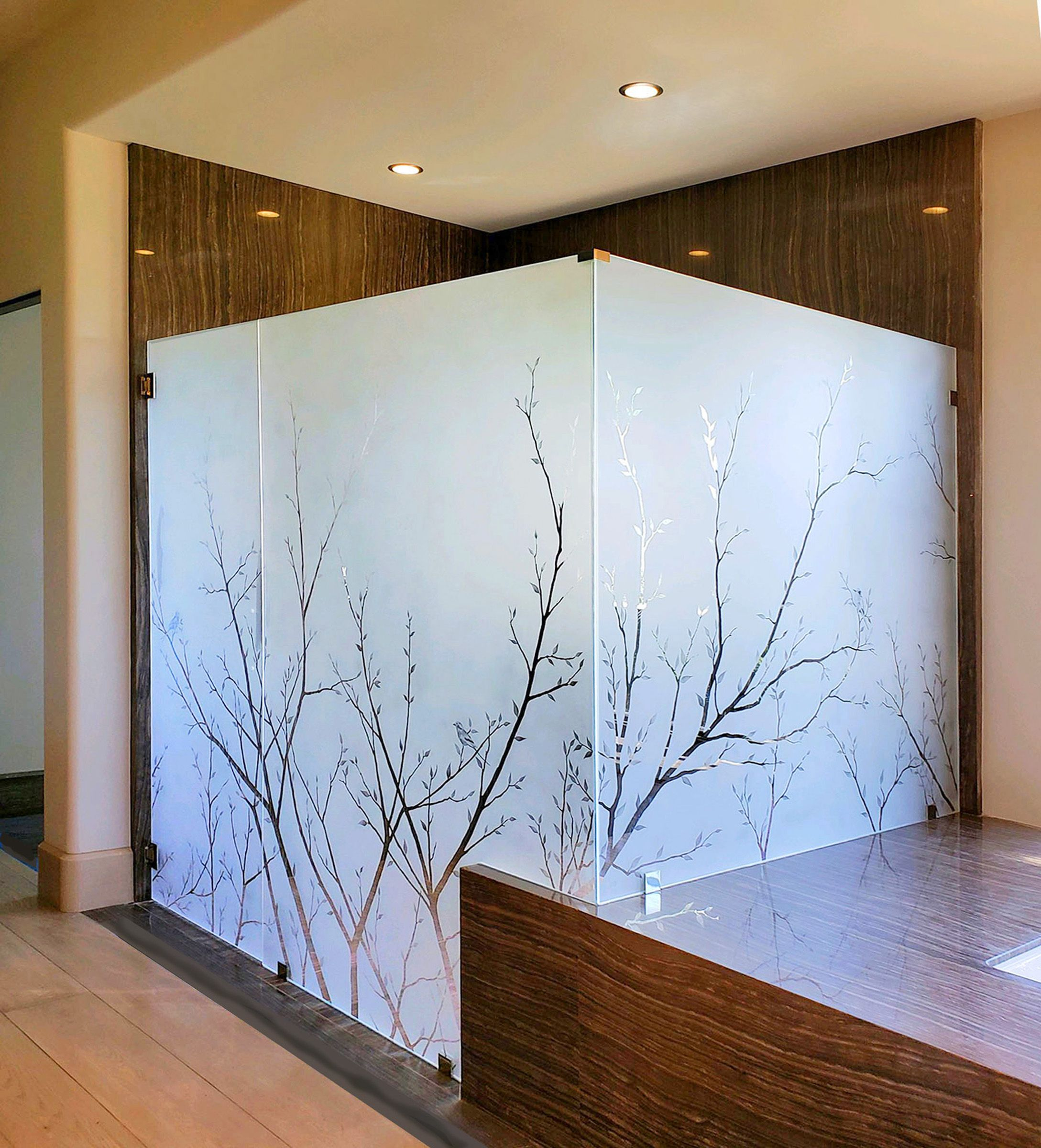 Large Etched Glass Shower For San Diego Custom Home With Images