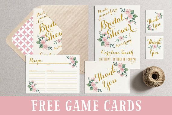 Bridal Shower Invitation,Printable Bridal Shower Invites,DIY Shower Party Pack,Bridal Shower Games Favors Tags,Spring Summer Blush Pink Gold