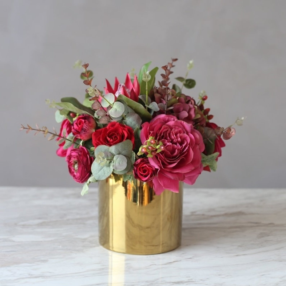 Red Pink Rose Protea Mixed Flower And Greenery In Metal Gold Etsy Small Flower Arrangements Flower Arrangements Simple Fake Flower Arrangements