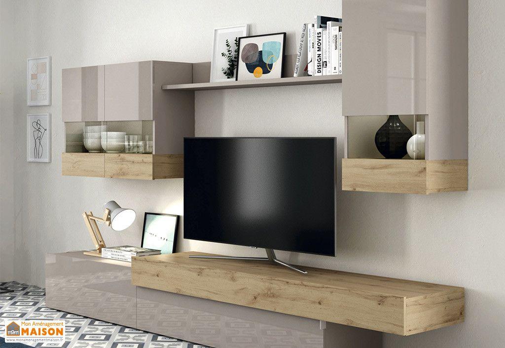 Meubles Salon En Bois 1 Meuble Tv 2 Vitrines Murales 1 Etagere Aura Ramis En 2020 Mobilier De Salon Meuble Salon Meuble