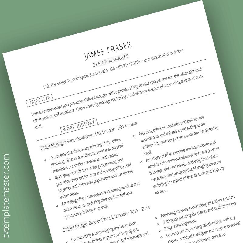 Office manager CV template   CV Template Master   Cv ...