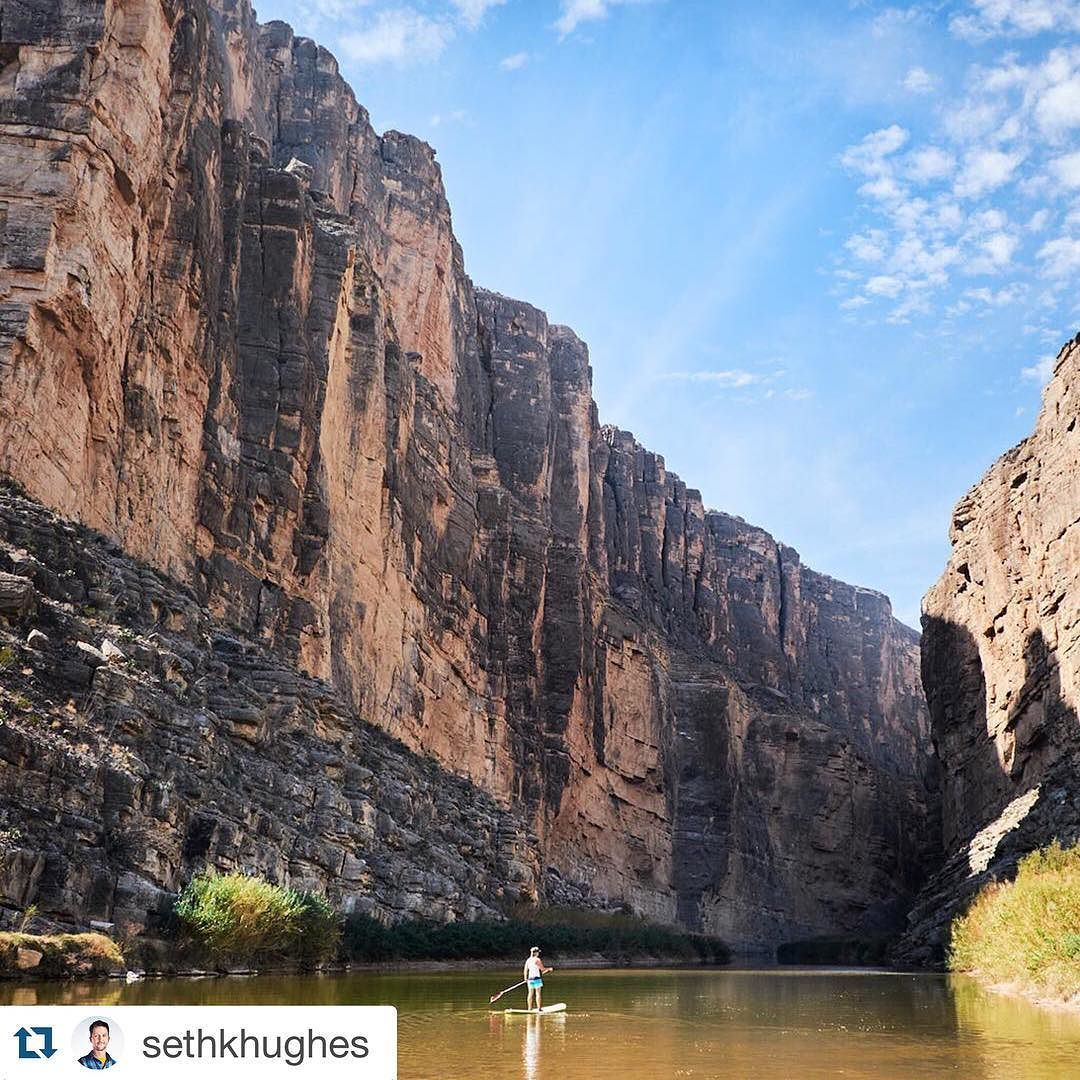 Amazing photo in @bigbendnps by @sethkhughes #repost  As it turns out Santa Elena Canyon in Big Bend is an excellent SUP destination. I've paddled in the U.S. and I've paddled in Mexico but never both at the same time! Ha!