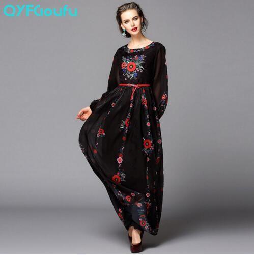 4e3ff496f0d 2017 Brand Designer Womens Fashion Maxi Dress Long Sleeve Black Vintage  Long Dress Rose Flower Print Classy Spring Dresses para mujer vestidos de  verano ...