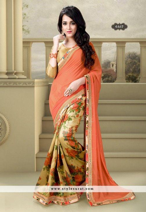 26a62314d1 Orange Color Faux Georgette Floral Printed Party Wear Saree-6417 ...