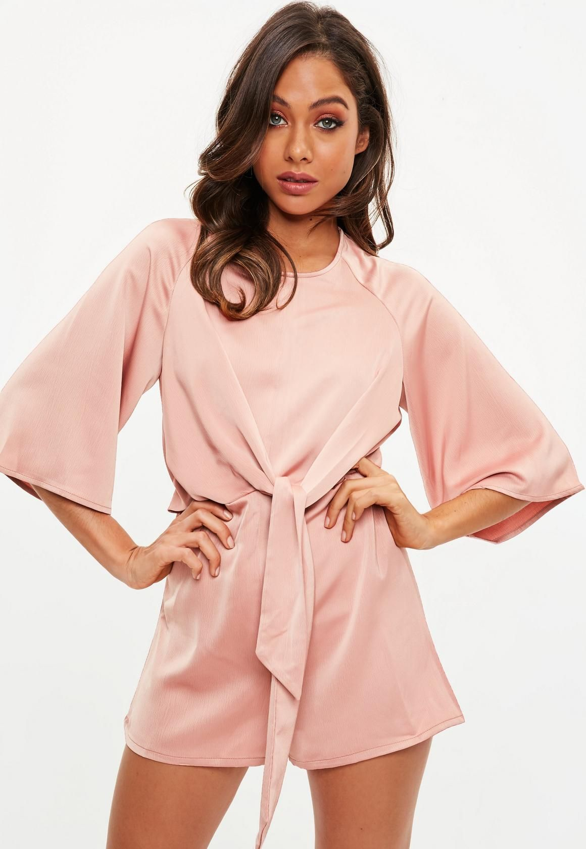 b5d6c8d3473 Missguided - Pink Tie Front Kimono Sleeve Romper