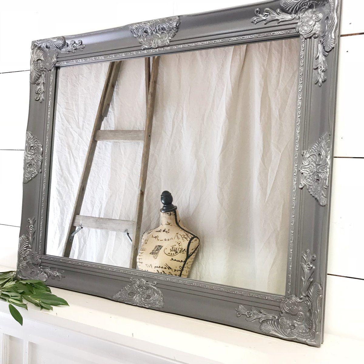 Grey And Silver Ornate Wall Mirror Ornate Mirror Bathroom Mirror Vintage Style Mirror