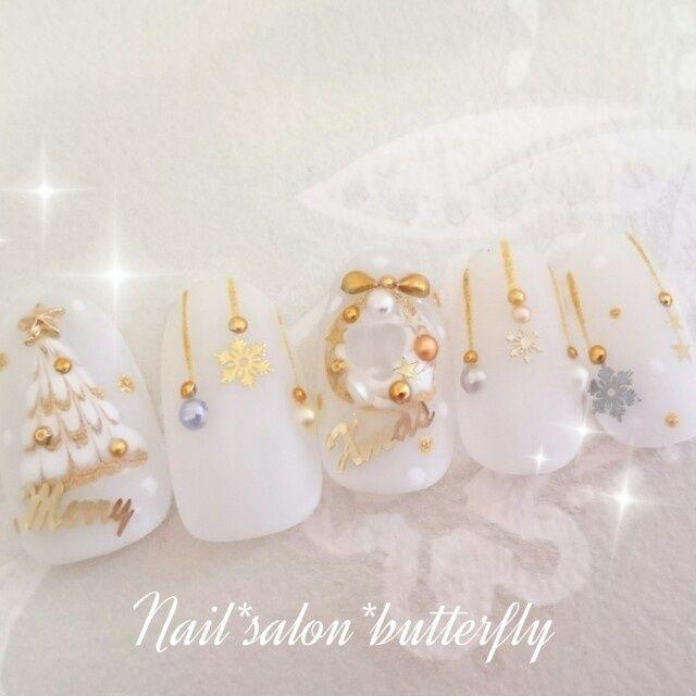 ネイル 画像 Nail Salon Butterfly 鹿沼 1204924 白 ゴールド