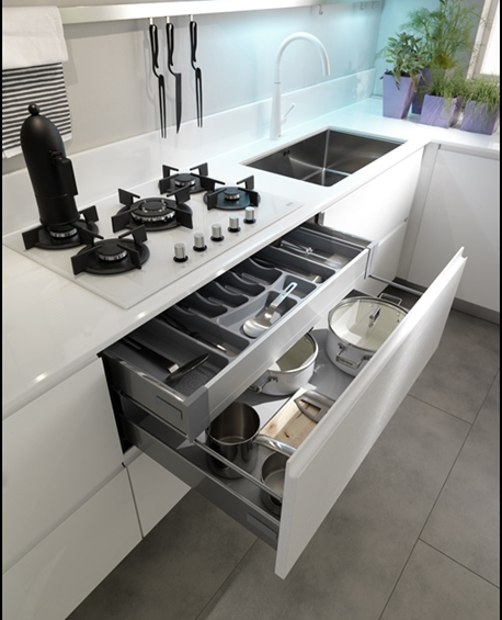 Axis Cucine Venus Kitchen Cabinet Modular System Drawer For Cutlery And Pots