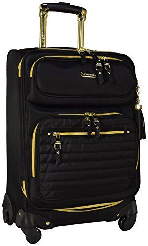 Steve Madden Illusion Collection Expandable Luggage Spinner Wheeled 20 Inch Suitcase Black Read More Info By Clicking The Link On