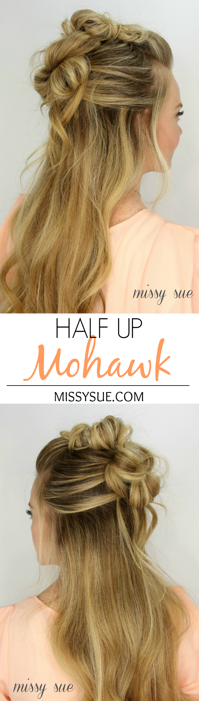 Halfupmessybunmohawk hair tutorials pinterest messy buns