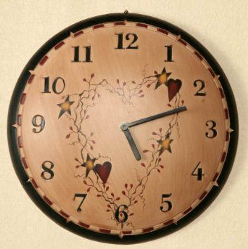 Amazon Com Primitive Country Star And Heart Hanging Wall Clock Home Kitchen Rustic Wall Clocks Primitive Wall Decor Clock Painting