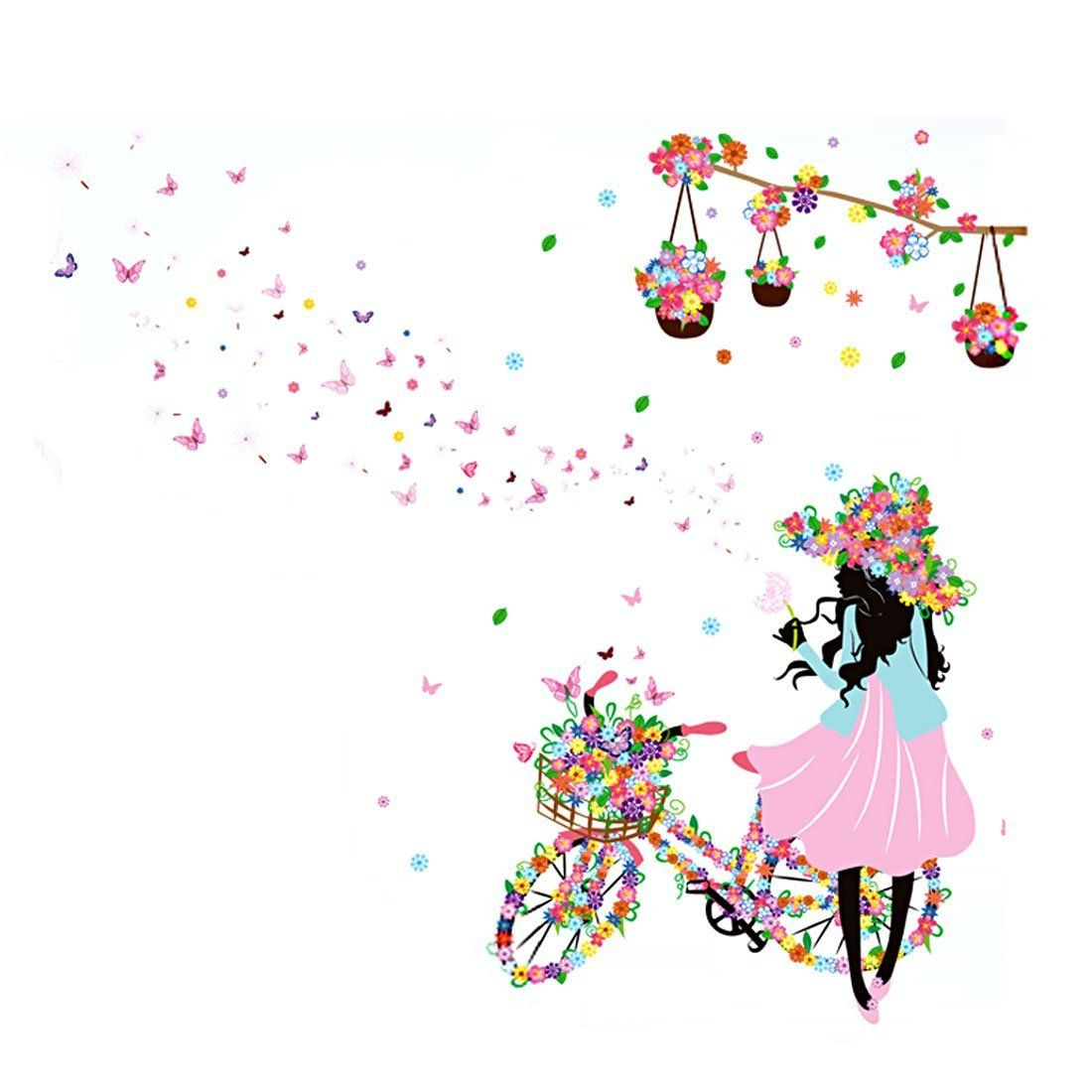 Uxcell flower bicycle girl diy wall stickers removable home