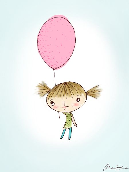 girl with balloon ipad drawing
