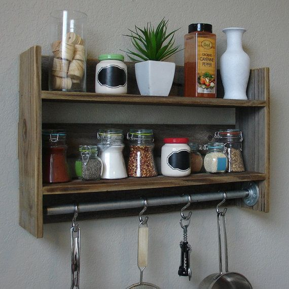 "Modern Rustic 2 Tier Spice Rack Shelf W/ 23"" Pot Rack Bar"