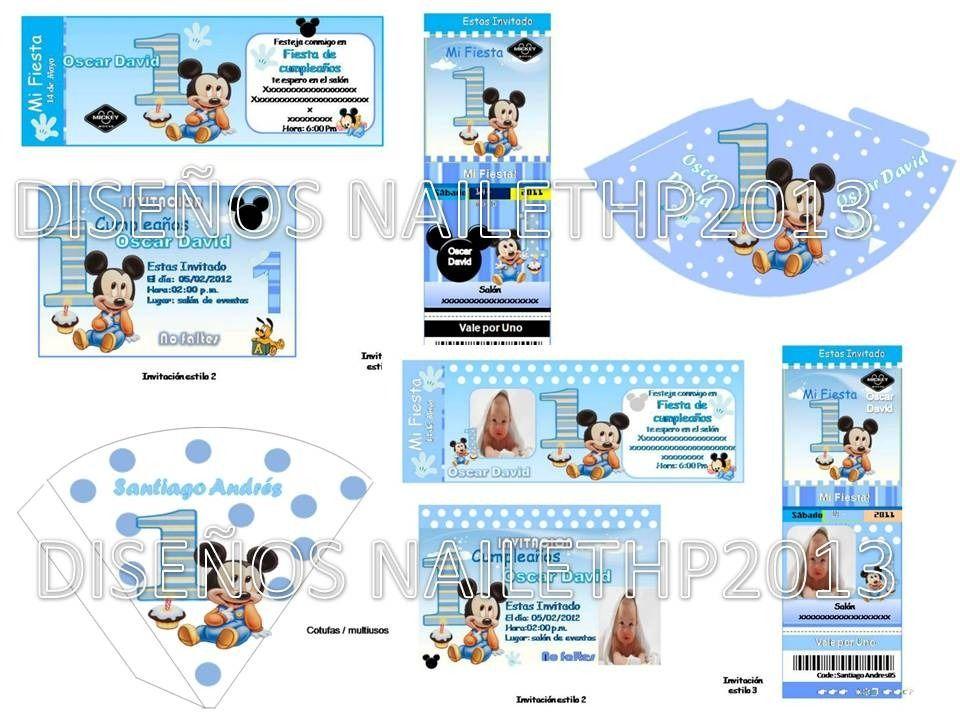 Hacer Tarjetas Invitacion Primer Anito Mickey Mouse Bebe