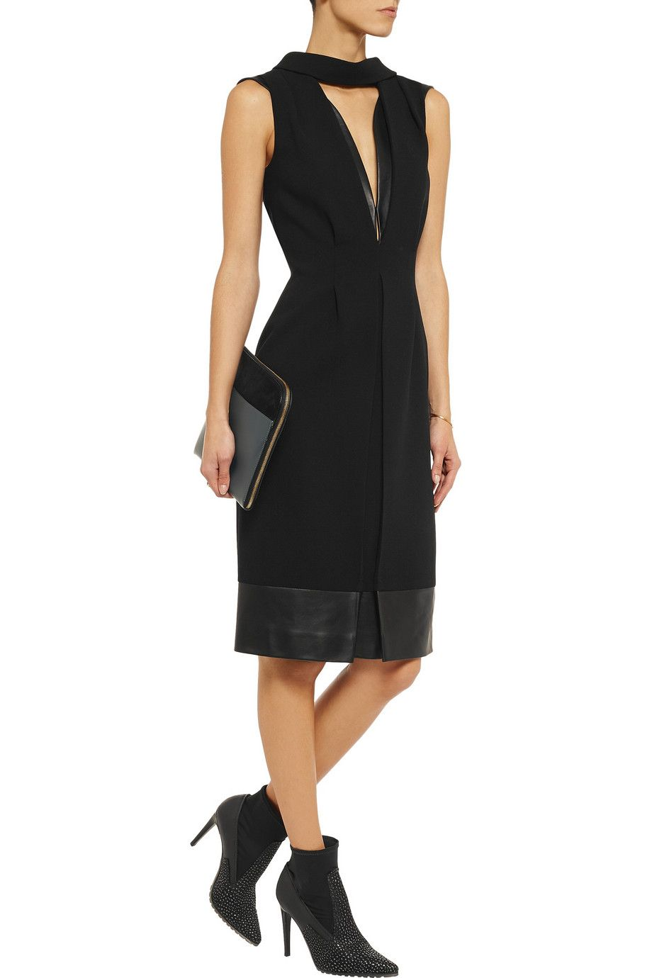 B is for black! Christopher Kane Leather-trimmed wool-crepe dress #THEOUTNETabc #SeeItShopIt