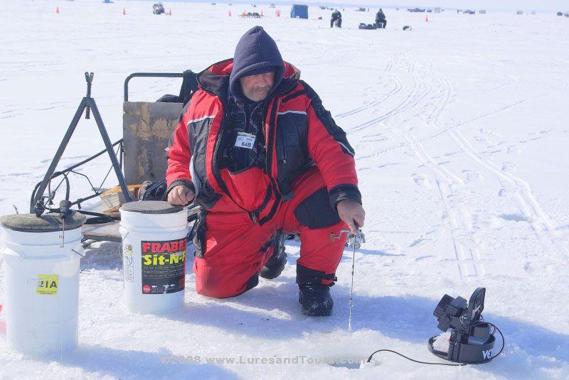 Ice Fishing on Lake Winnipesaukee In Winter Aubrey