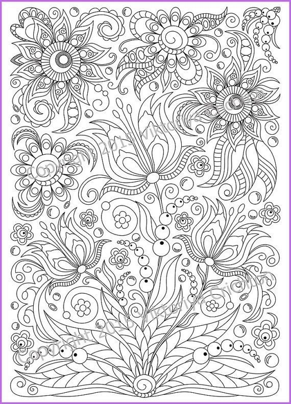 Coloring Page PDF Printable Doodle Flowers By