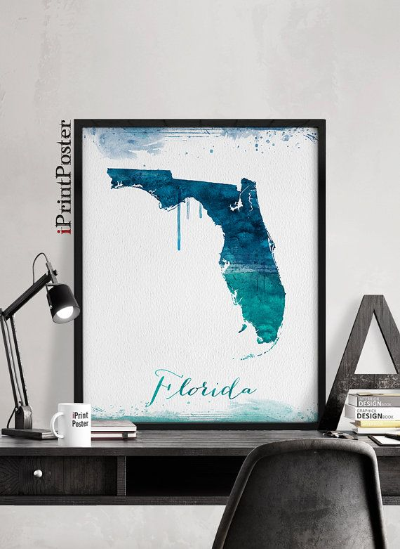 Florida Map Print State Poster Wall Art Travel Decor Prints Gift Home Iprintposter