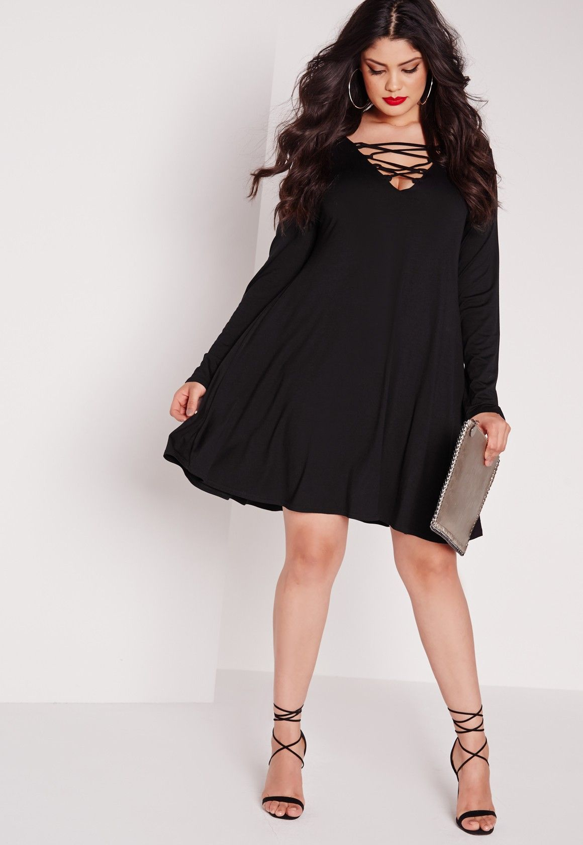 Missguided - Plus Size Lace Up Swing Dress Black   Threads ...
