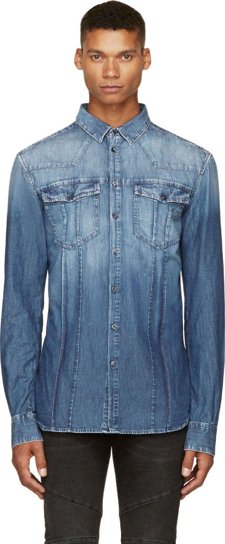 5982d6bd7a Pierre Balmain  Blue Denim Washed Shirt