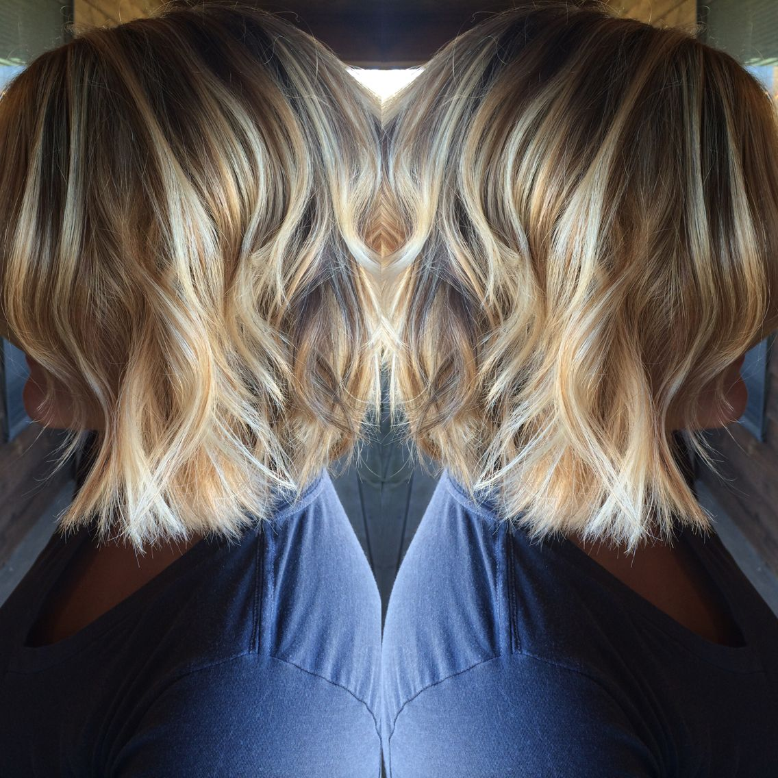 Cute Short Hairstyle Golden And Platinum Blonde Balayage Highlights